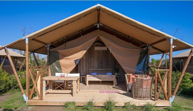 Mediterranean Beach Coast Lodging Tents in Tuscany, Italy